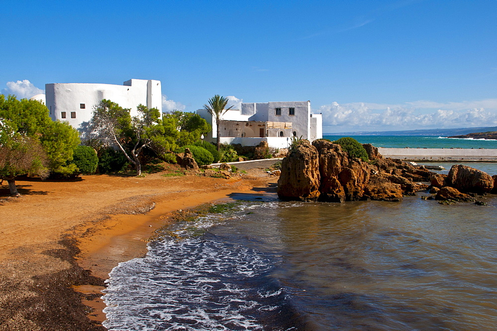 The sandy beach in the beach resort Corne d'Or, former stronghold, Tipasa, Algeria, Africa