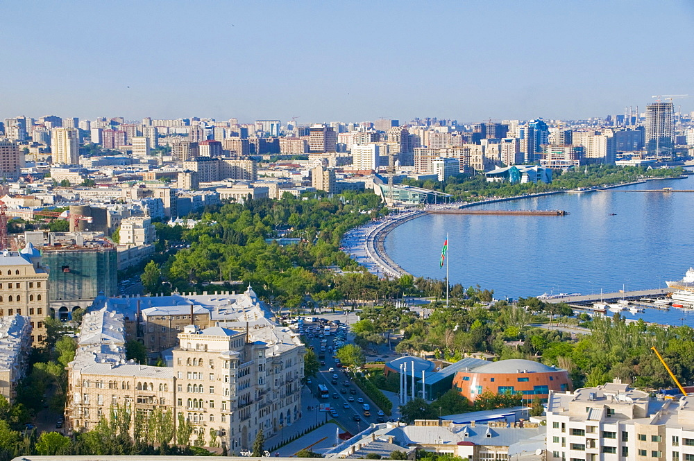 View of the coast of Baku, Baku Bay, Azerbaijan, Middle East