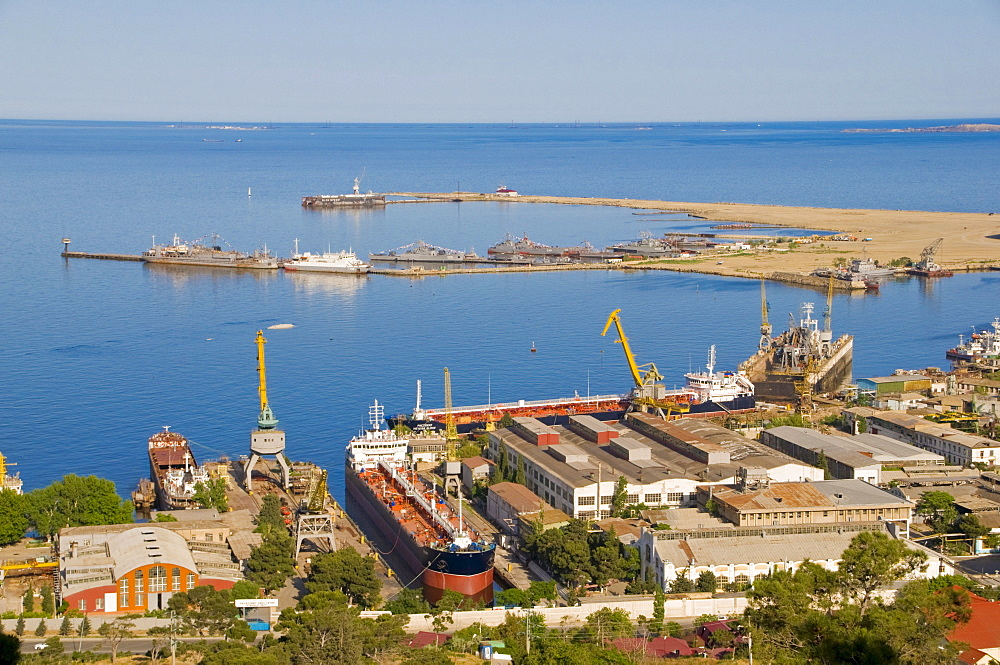 Baku Harbour with a container vessel, on the Caspian Sea, Azerbaijan, Caucasus region, Middle East