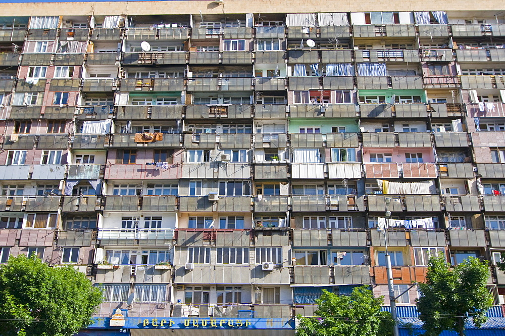 Facade of an apartment block with balconies, Yerevan, Armenia, Middle East