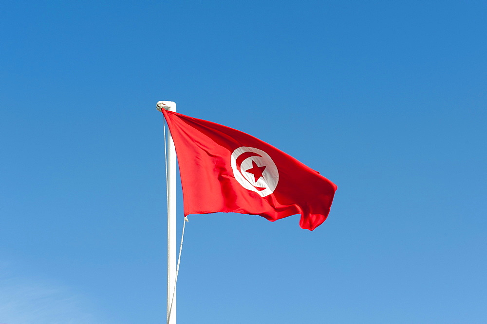Tunisian national flag, Tunisia, North Africa, Africa