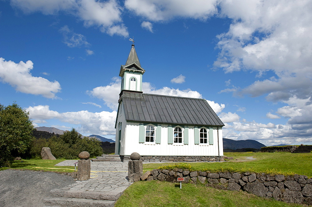 Church, fiingvellir National Park, Thingvellir, Golden Circle, Iceland, Scandinavia, Northern Europe, Europe