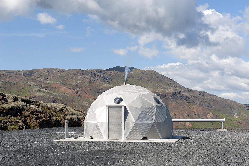 Futuristic house, geothermal power plant, Nesjavellir power plant, Hverageri, Hengill region, Iceland, Scandinavia, Northern Europe, Europe - 832-116177