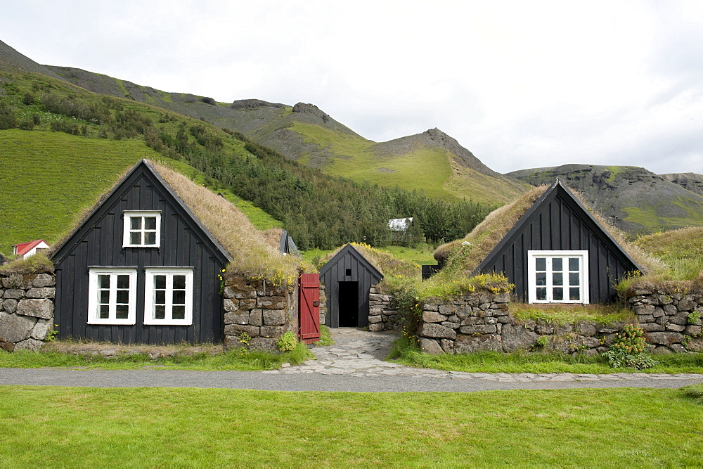 Old wooden houses with grass roofs, Skogar open-air museum, Iceland, Scandinavia, Northern Europe, Europe