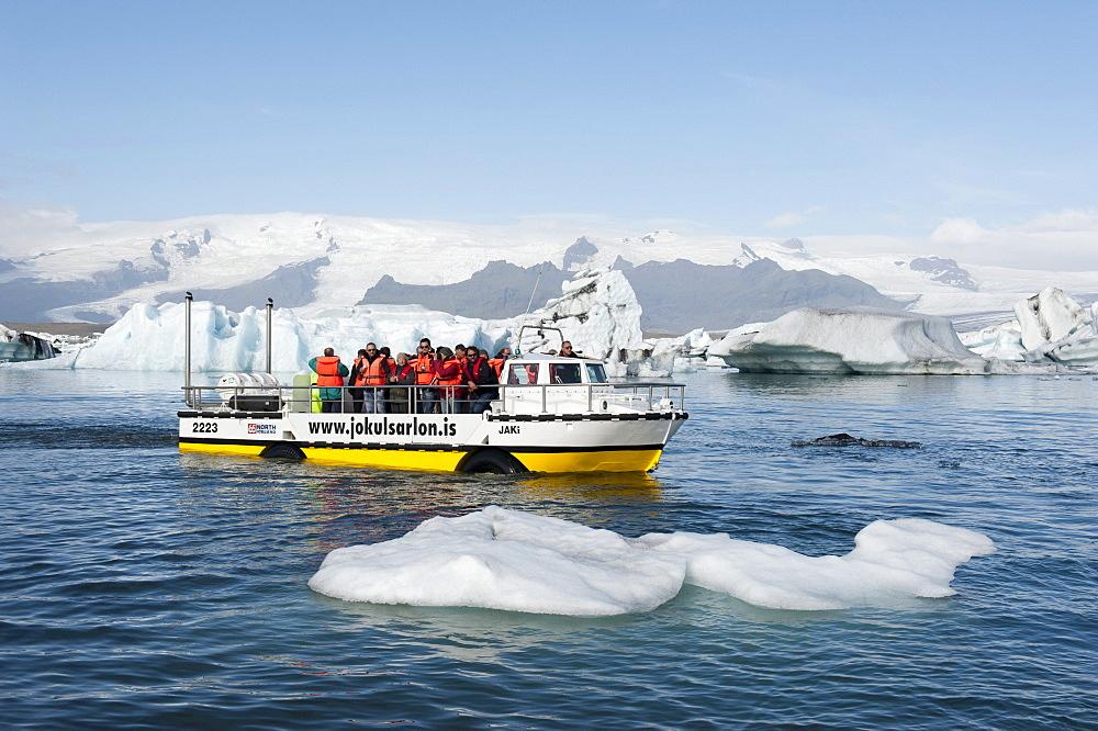 Amphibious vehicle swimming among icebergs, converted American LARC-5, tourists on board, Joekulsarlon glacial lake, Joekulsarlon, Iceland, Scandinavia, Northern Europe, Europe