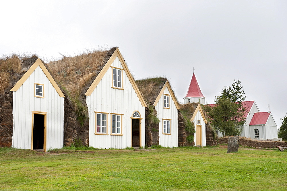 Open-air museum with church, sod houses, turf and sod constructions, Skagfjordur Heritage Museum, GlaumbÊr, Glaumbaer, Iceland, Scandinavia, Northern Europe, Europe