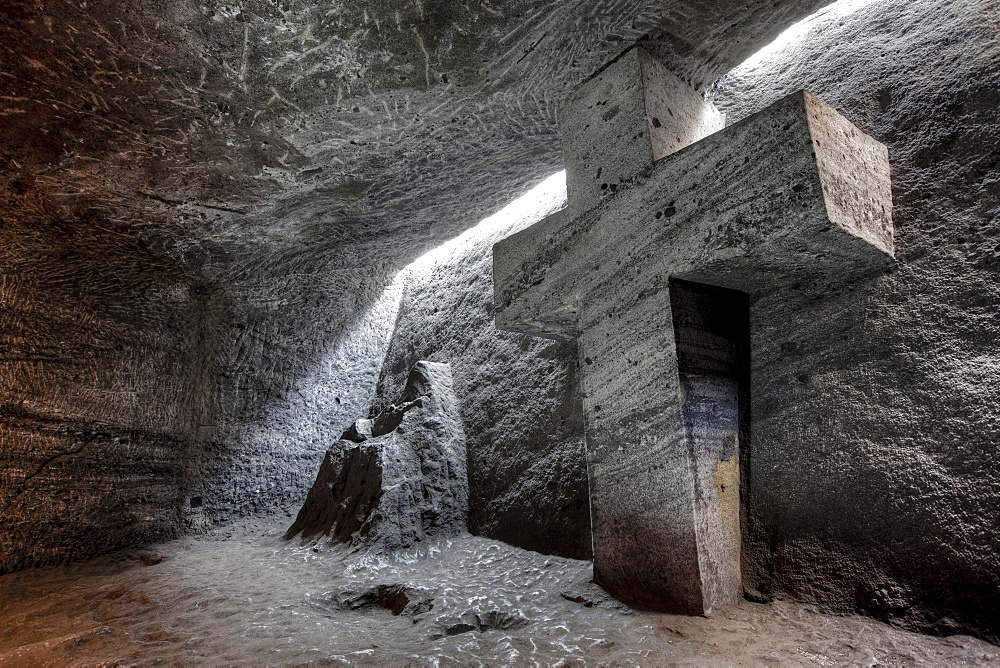 Cross-shaped stone in the underground Salt Cathedral of Zipaquira, Cundinamarca, Colombia, South America
