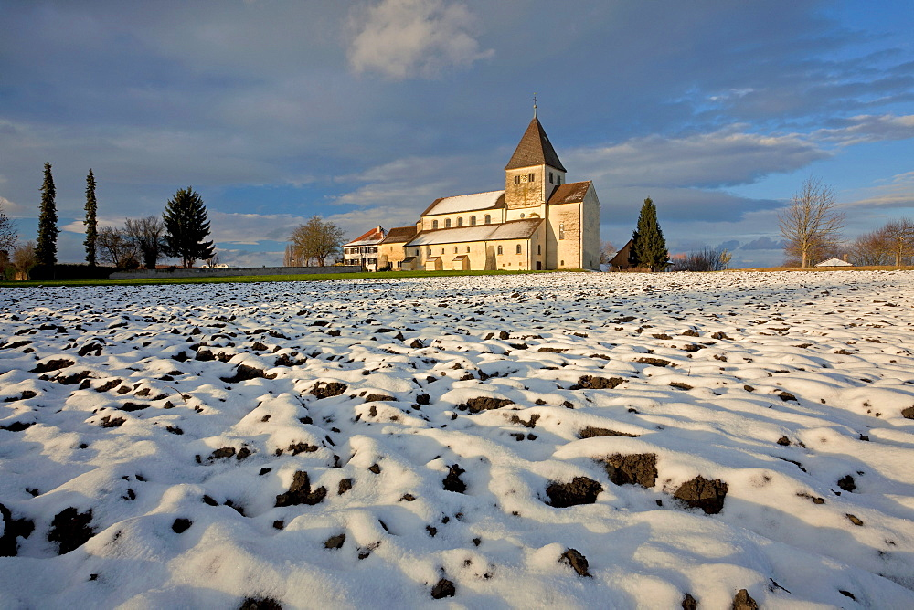 Church on the island of Reichenau in the evening light on Lake Constance, Baden-Wuerttemberg, Germany, Europe