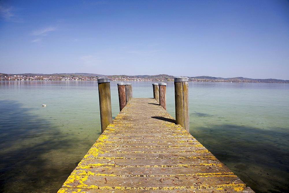Jetty on Reichenau island, Lake Constance, Baden-Wuerttemberg, Germany, Europe