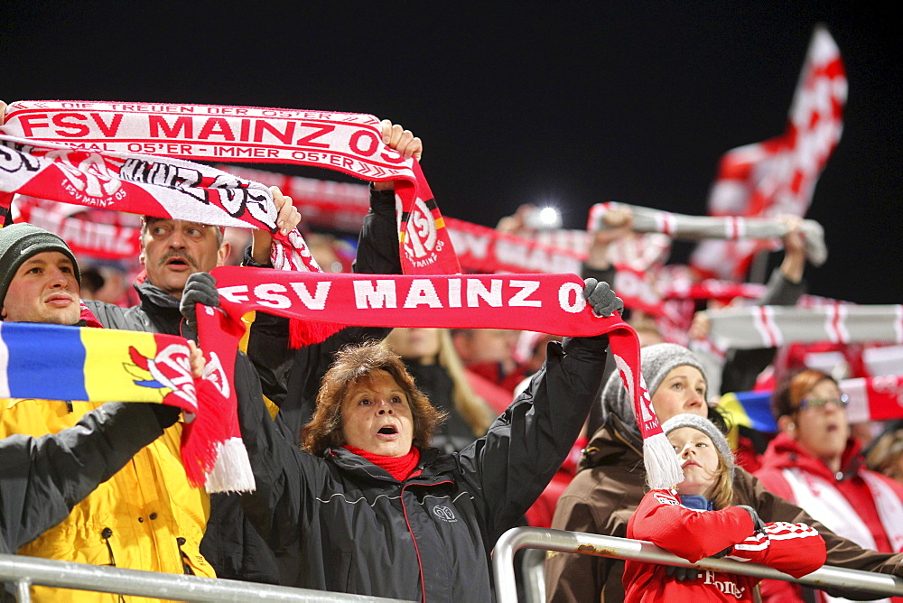 Fans of the FSV Mainz 05 in Bruchweg Stadium, Mainz, Rhineland-Palatinate, Germany, Europe