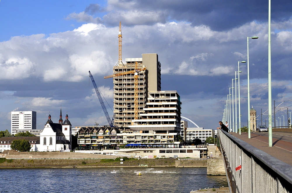 The Lufthansa high-rise building, seat of the German airline until 2007, on the bank of the Rhine River at Deutz, renovation until 2012 to become the MaxCologne development, Cologne, North Rhine-Westphalia, Germany, Europe