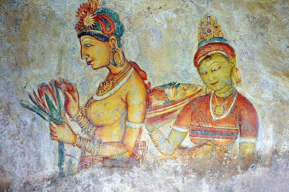 Cloud maidens, fresco on cave wall, 5th Century, Lion Rock, rock fortress, UNESCO World Heritage site, Sigiriya, Sri Lanka, Asia