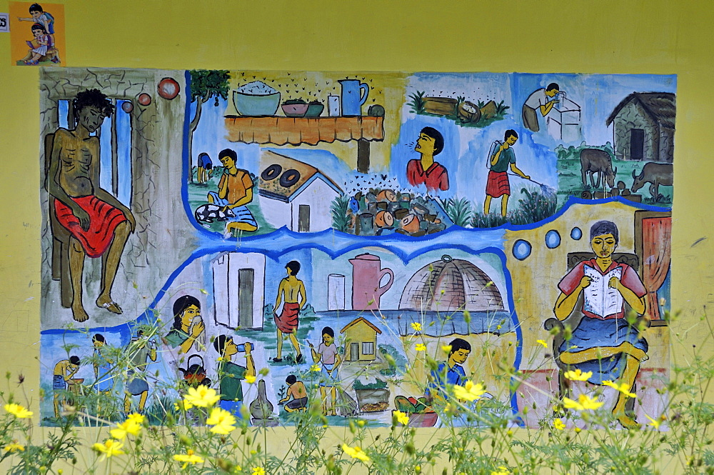 Wall painting depicting hygiene measures, school for the deaf, Beliatta, Sri Lanka, Ceylon, South Asia, Asia