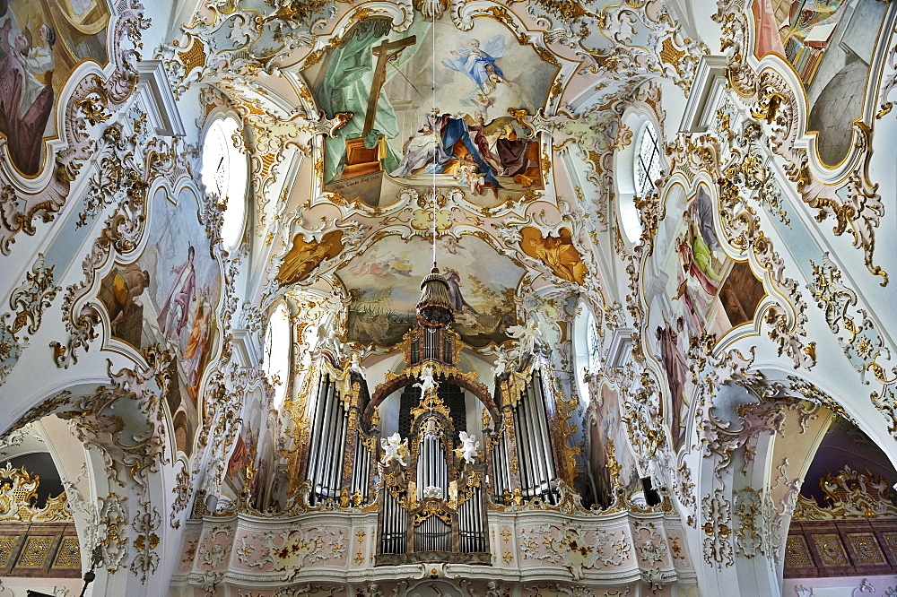 Organ and ceiling fresco, Collegiate Church of Mariae Geburt or the Nativity of Mary, Kloster Rottenbuch monastery, Pfaffenwinkel, Bavaria, Germany, Europe