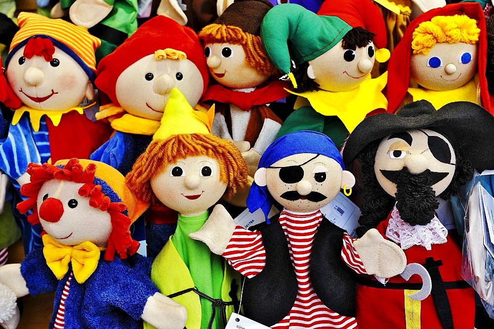 Various dolls, Auer Dult fair, Munich, Bavaria, Germany, Europe