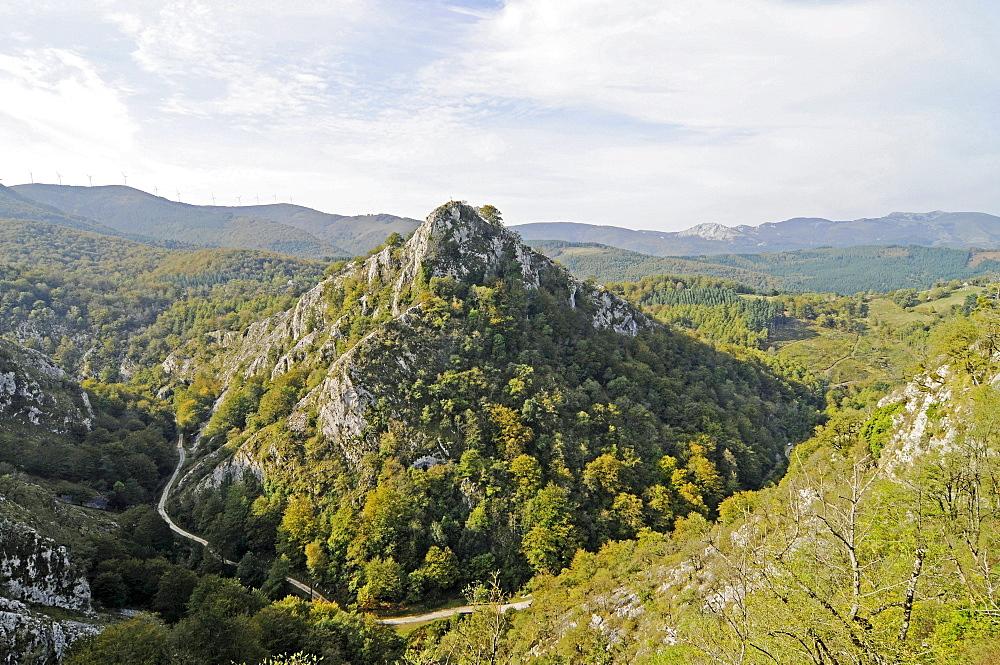 Landscape, Arantzazu, Onati, Gipuzkoa province, Pais Vasco, Basque Country, Spain, Europe