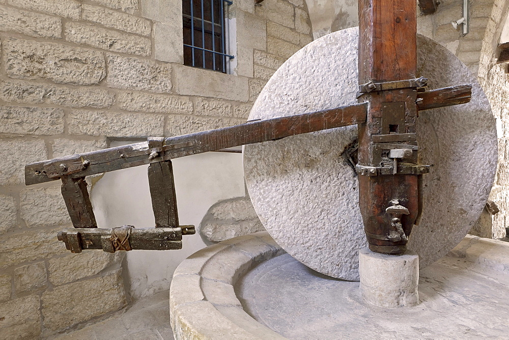 Olive oil stone grinding mill wheel, Museum for olive oil production, Bethlehem, Palestine, Western Asia