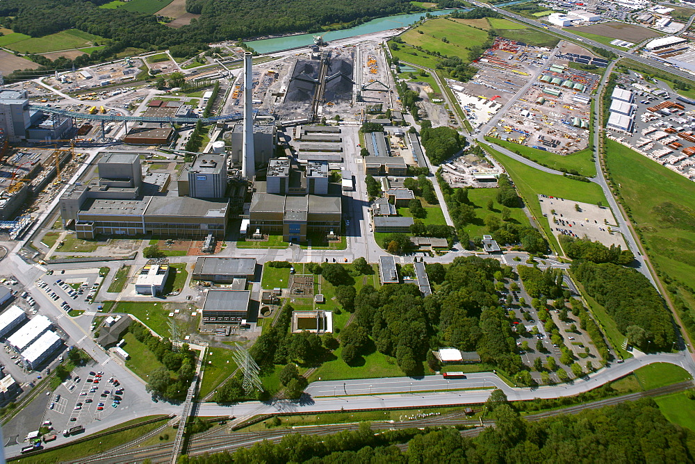 Aerial view, Kraftwerk Westfalen power plant, owned by RWE Power, an electric power company, construction site of the coal power station, Uentrop district, Hamm, Ruhr area, North Rhine-Westphalia, Germany, Europe