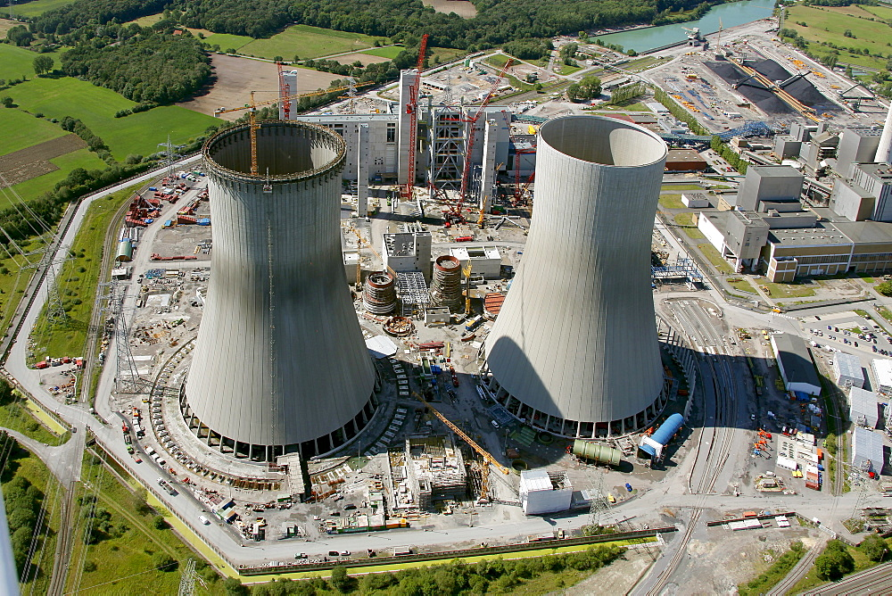 Aerial view, Kraftwerk Westfalen power plant owned by RWE Power, a German electric power company, coal power station, construction site, Uentrop district, Hamm, Ruhr area, North Rhine-Westphalia, Germany, Europe