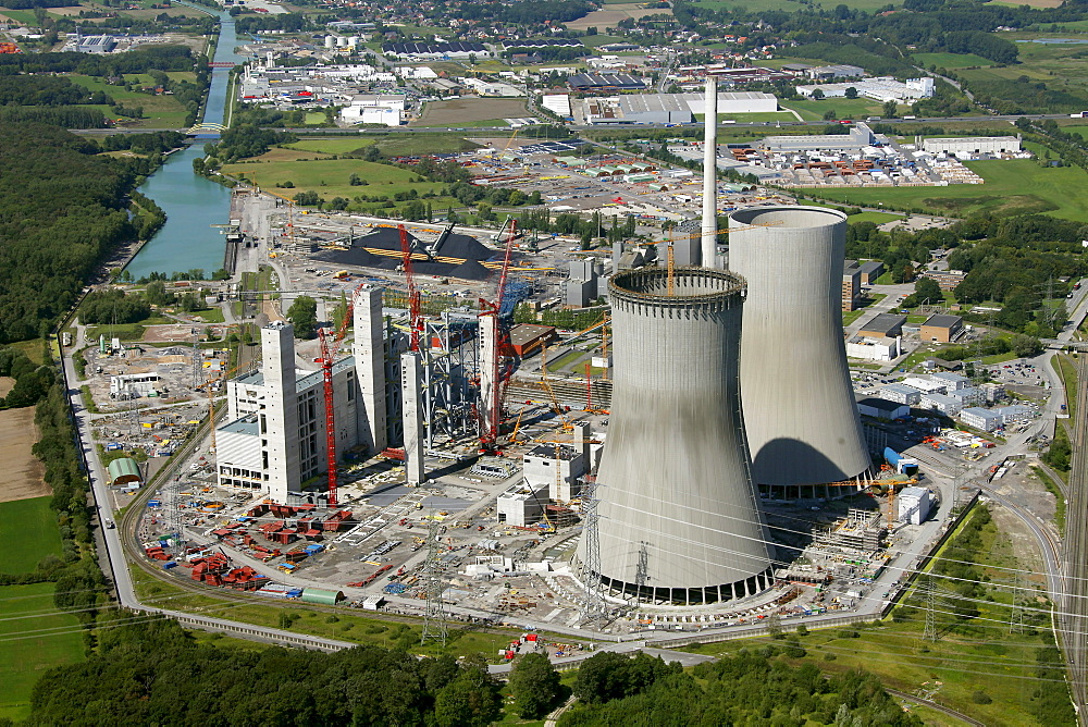 Aerial view, Kraftwerk Westfalen power plant owned by RWE Power, a German electric power company, coal power station, construction site, Uentrop district, Welver, Ruhr area, North Rhine-Westphalia, Germany, Europe