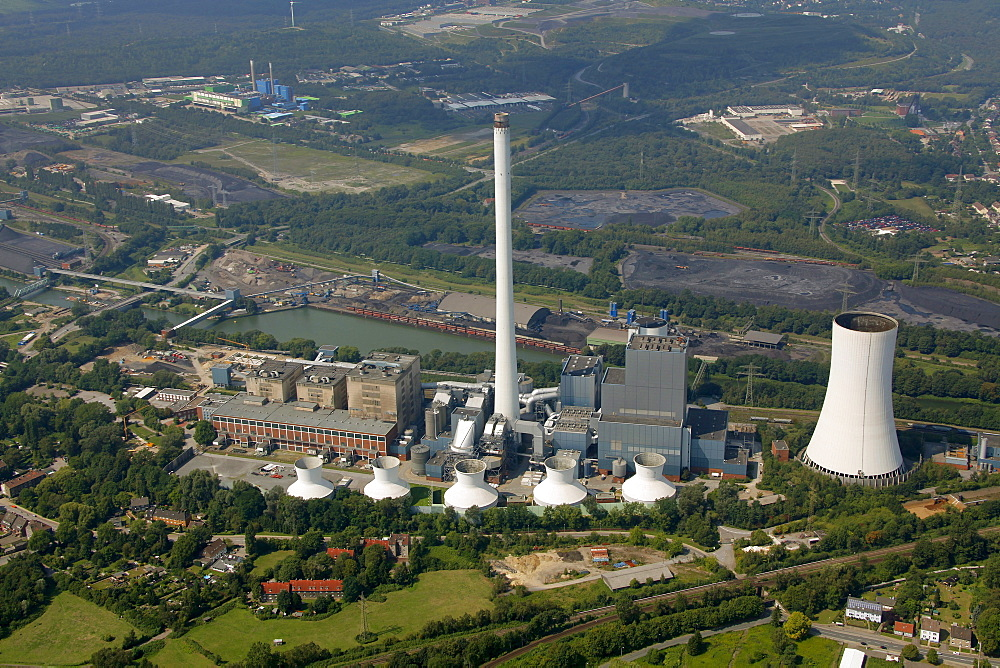 Aerial view, STEAG power plant, Herne, Ruhr area, North Rhine-Westphalia, Germany, Europe