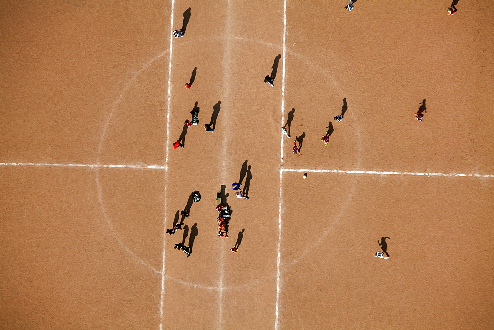 Aerial view, sports ground, clay court, youth training, soccer club, Wetter, Ruhrgebiet region, North Rhine-Westphalia, Germany, Europe - 832-118805