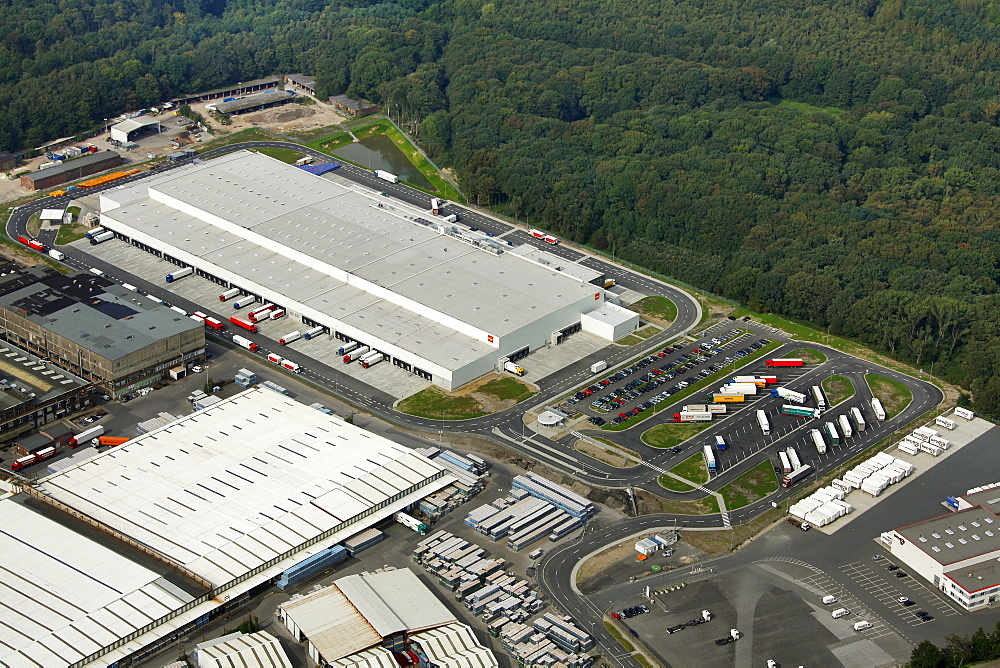 Aerial view, re-opening, Penny discount store, Penny logistics center, Karnap district, Essen, Ruhrgebiet region, North Rhine-Westphalia, Germany, Europe
