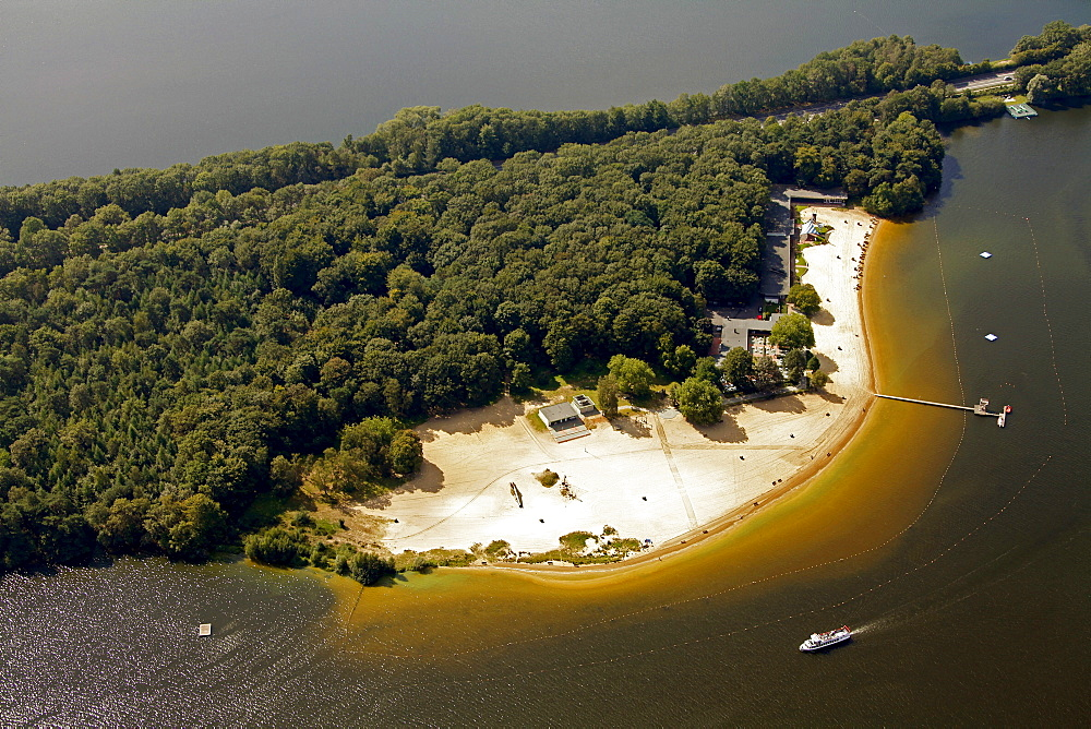 Aerial view, Haltern Stausee reservoir with lido, Haltern, Ruhr Area, North Rhine-Westphalia, Germany, Europe