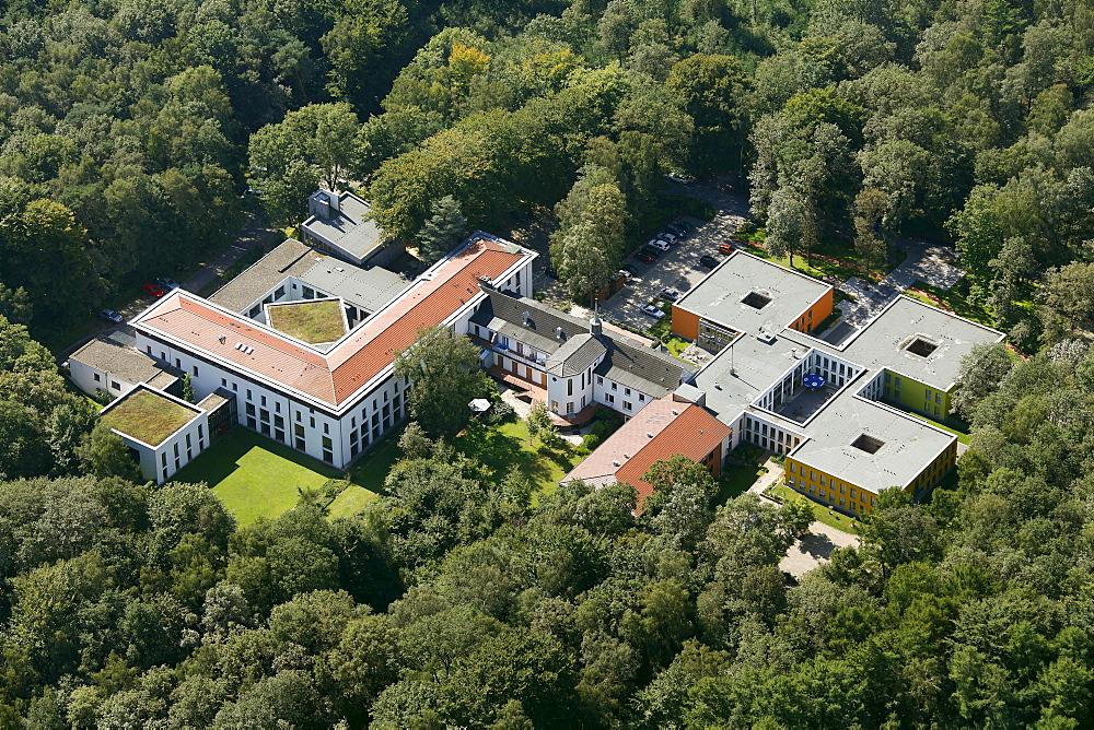 """Aerial view, Heimvolkshochschule """"Gottfried Koenzgen"""", adult education centre, belonging to club KAB-CAY, catholic workers' organisation, Haltern am See, Ruhr Area, North Rhine-Westphalia, Germany, Europe"""