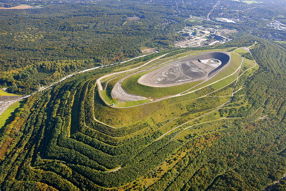 Aerial view, tailings dam, waste dump, landscape construction with an amphitheater, Halde Haniel, Bottrop, Ruhr Area, North Rhine-Westphalia, Germany, Europe