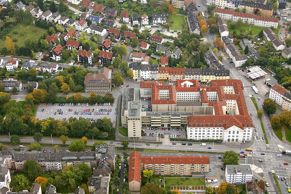 Aerial view, Landesbehoerdenhaus, court, prison, Hagen, Ruhrgebiet region, North Rhine-Westphalia, Germany, Europe