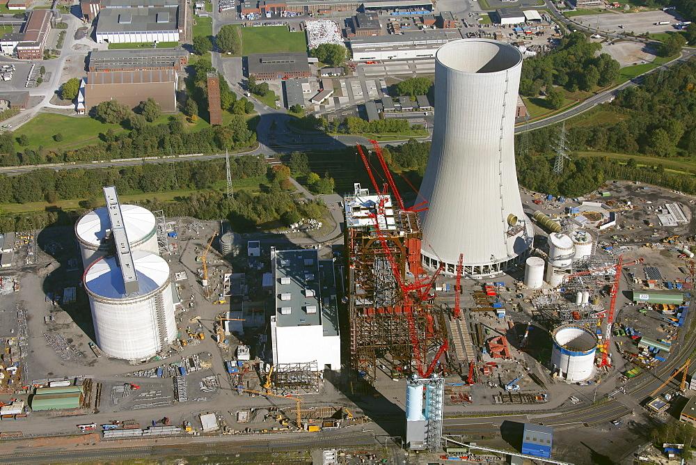 Aerial view, Trianel coal-fired power plant under construction, port, Luenen, Ruhrgebiet region, North Rhine-Westphalia, Germany, Europe