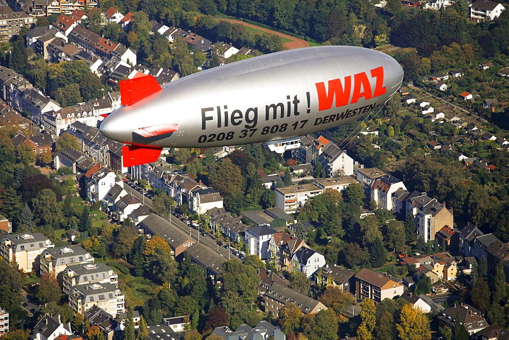 Aerial view, WAZ NRZ Zeppelin over Muelheim an der Ruhr, Ruhrgebiet region, North Rhine-Westphalia, Germany, Europe