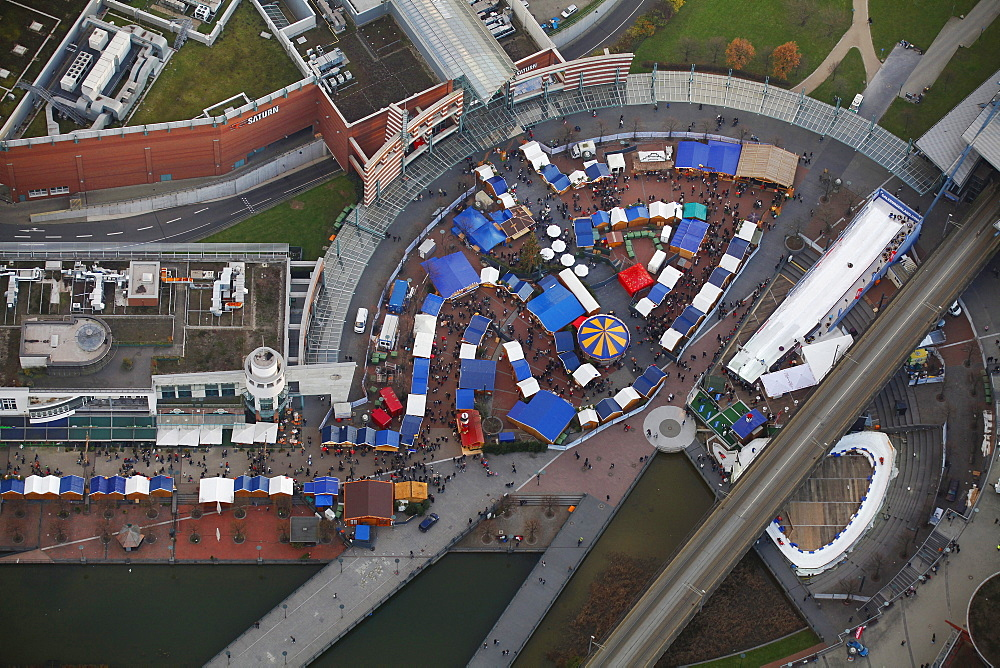 Aerial view, Christmas market, Centro mall, Neue Mitte, Oberhausen, Ruhrgebiet region, North Rhine-Westphalia, Germany, Europe