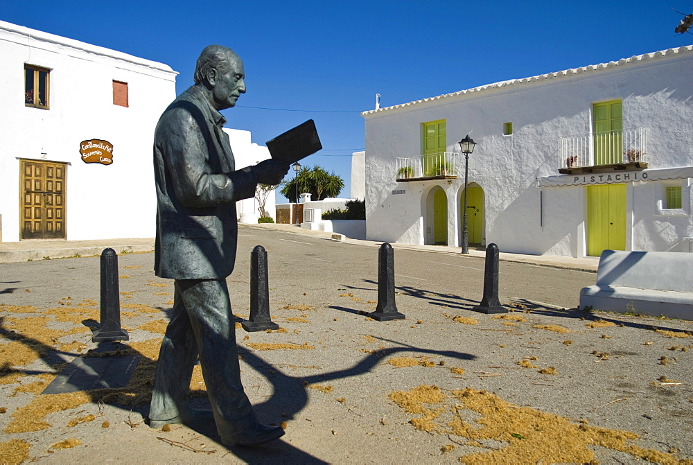 Statue of the local poet Maria Villangomez, San Miguel, Ibiza, Spain, Europe