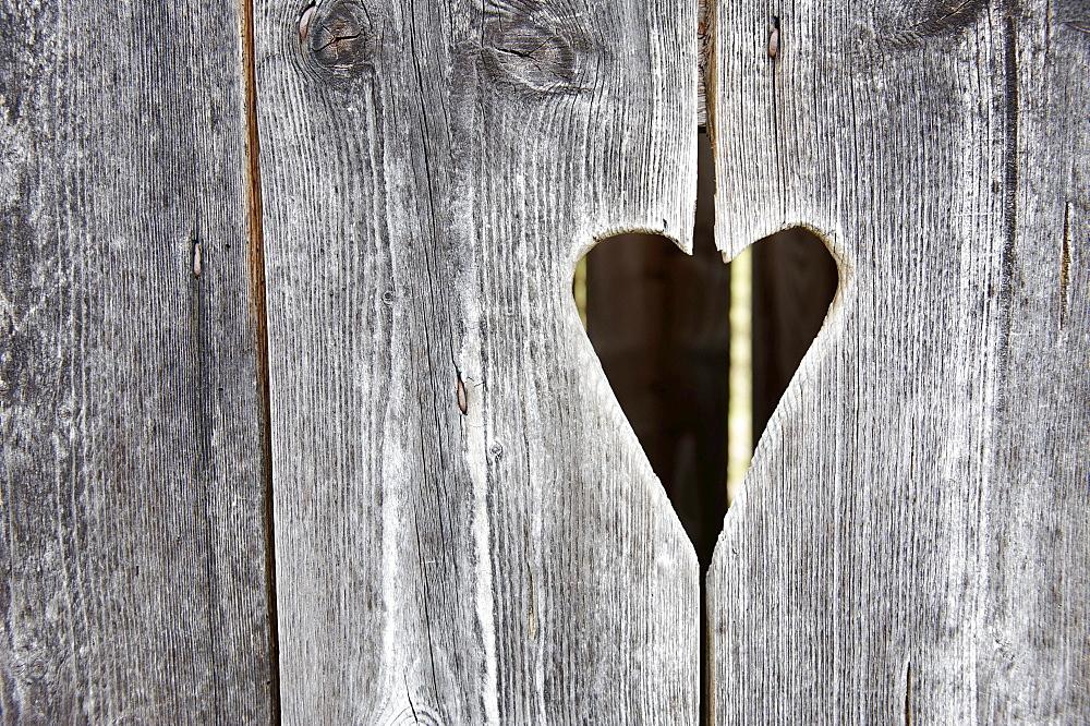 Wooden door with a heart, toilet, toilet door, squat toilet