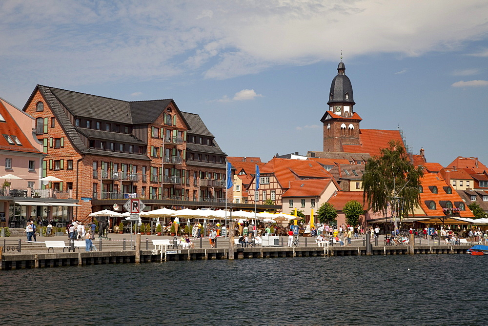 St. Mary's Church and the port of the climatic health-resort of Waren on Lake Mueritz, Mecklenburg Lake District, Mecklenburg-Western Pomerania, Germany, Europe