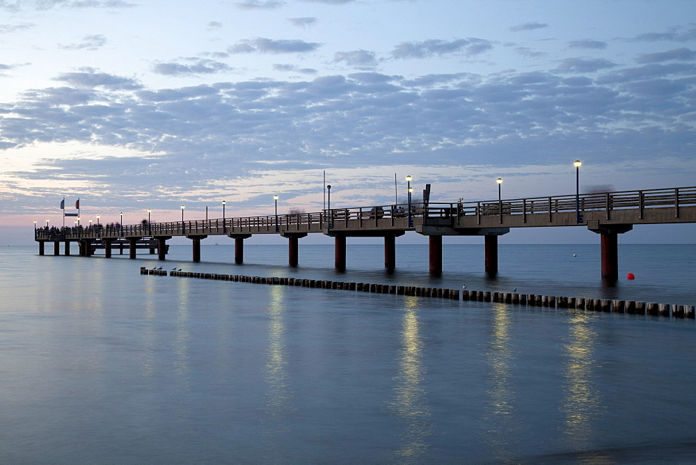 Pier at night, Baltic Sea resort town of Zingst, Mecklenburg-Western Pomerania, Germany, Europe