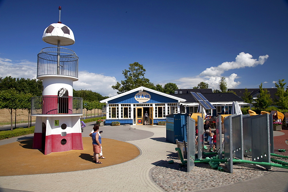 Playground, Vis-A-vis family restaurant, Baltic Sea spa of Zingst, Fischland Darss Zingst peninsula, Mecklenburg-Western Pomerania, Germany, Europe
