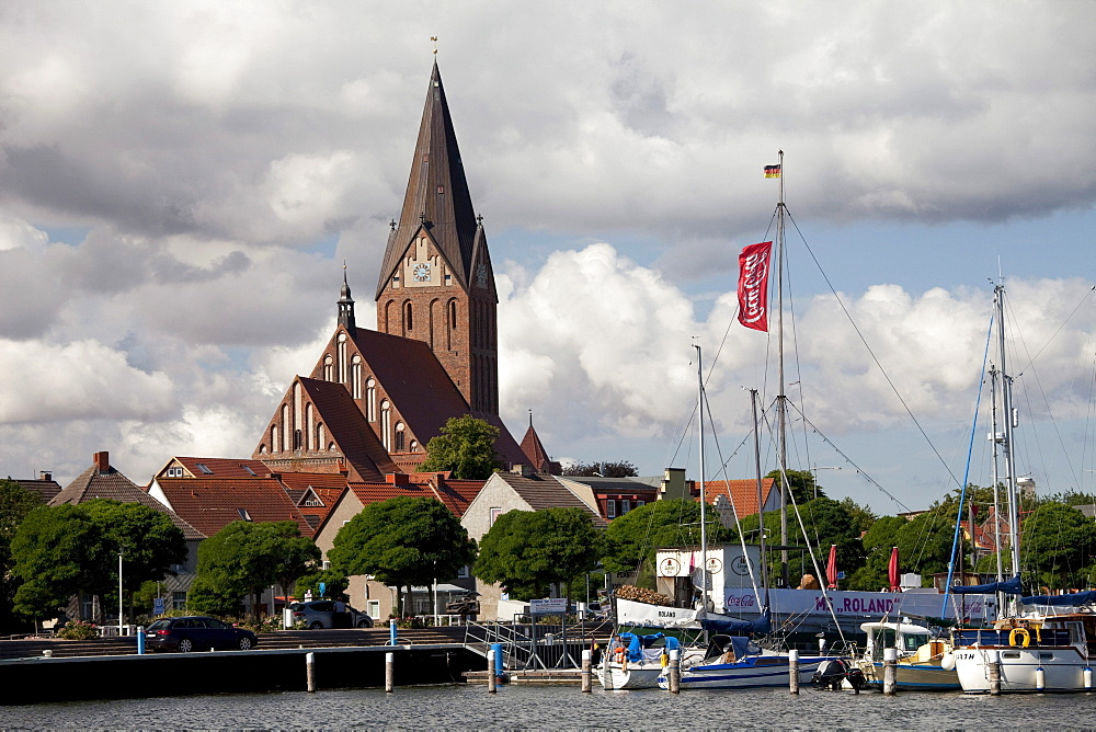 St. Marien Kirche church, harbour, Barth, Mecklenburg-Western Pomerania, Germany, Europe