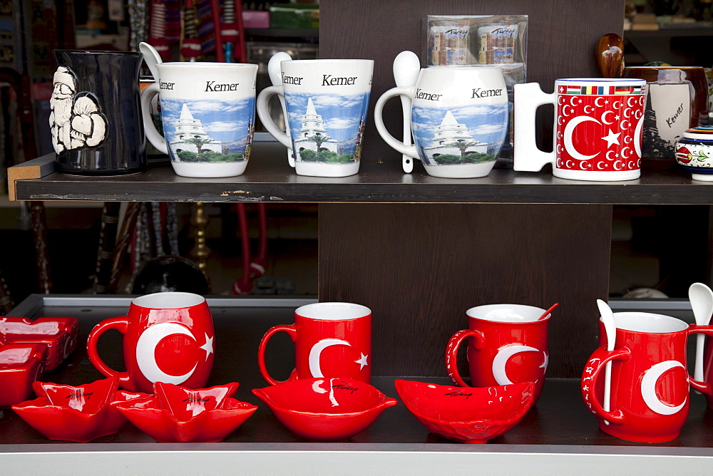 Cups with a Turkish crescent moon, Myra, Demre, Lycia, Turkey, Asia