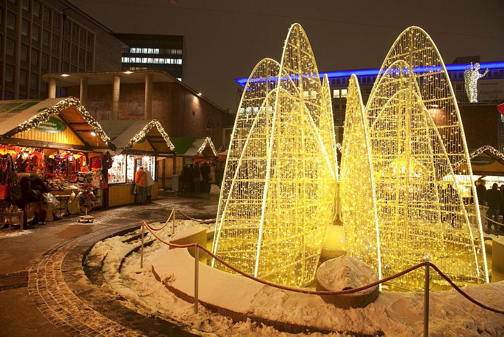 Christmas market at Kennedy Square, Essen, Ruhr Area, North Rhine-Westphalia, Germany, Europe