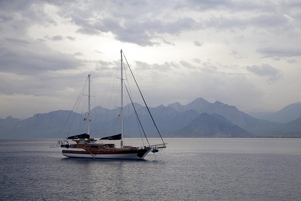 Dark clouds over the coast, Antalya, Turkish Riviera, Turkey, Asia