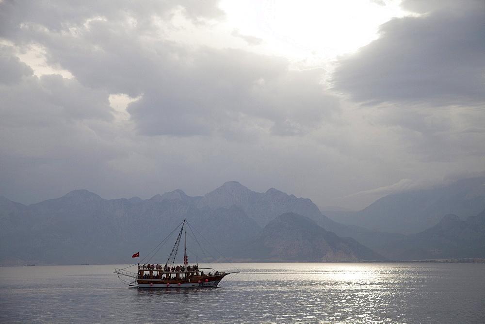 Boat off the coast, Antalya, Turkish Riviera, Turkey, Asia