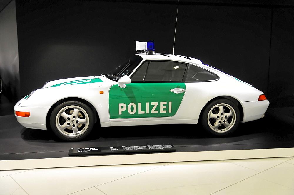 Porsche Carrera Coupe Polizei, police car, Porsche Museum, Stuttgart, Baden-Wuerttemberg, Germany, Europe