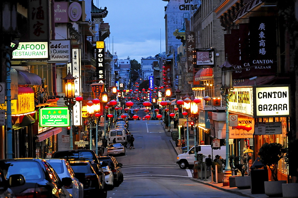 China Town in the evening, San Francisco, California, USA, North America