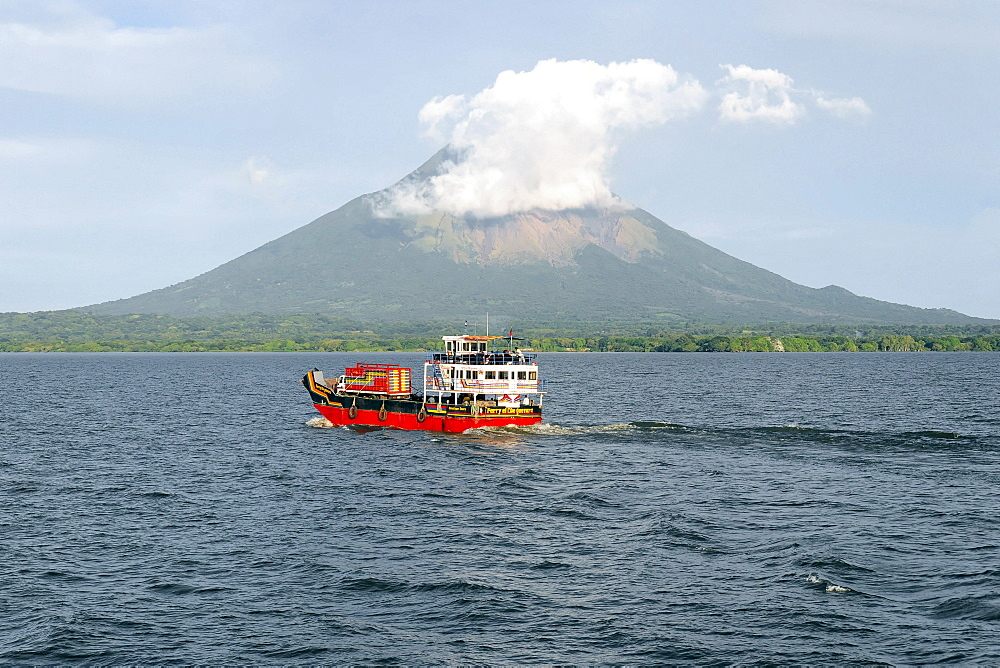 El Che Guevara ferry in front of Concepcion Volcano, Ometepe Island, Lake Nicaragua, Nicaragua, Central America