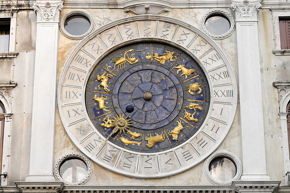 Sundial with zodiacal signs, St Mark's Basilica, St. Mark's Square, Venice, Italy, Europe