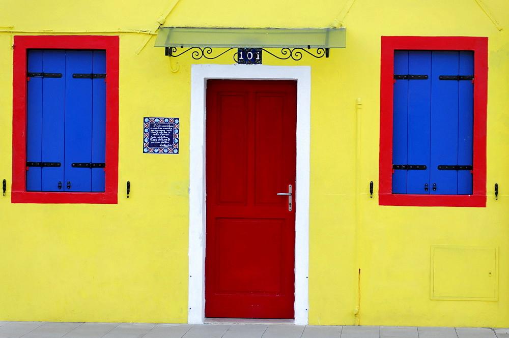 Colourful facade of a house with door and windows, Burano Island, Venice, Veneto, Italy, Europe