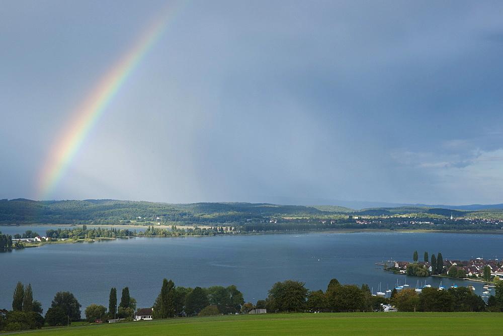 Rainbow over Reichenau island and Ermatingen on Lake Constance, Salenstein, Canton Thurgau, Switzerland, Europe